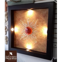 Cuadro Moderno Lampara De Pared Sol Forja Y Esferas Cristal