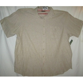 Camisa Casual Beige Cafe Nevada Talla 4x David Taylor