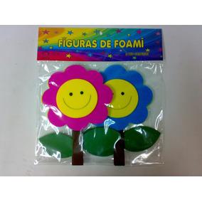 Figuras En Foami Flor Con Carita Feliz