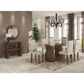Sala De Jantar Lopas Mesa Tampo De Vidro E 6 Cadeiras Tecido