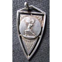 Medalla Antigua De Plata Levatamiento De Pesas Sin Grabar