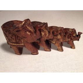 Figuras Familia De Elefantes Tallados En Madera Artesanía