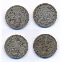 Suécia 25 Ore Prata 4 Moedas 1897/99/1904/05.