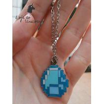 Colar Minecraft Diamond Diamante Gema - Pronta Entrega