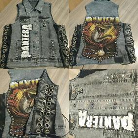 Chaleco Jean, Cuero Y Tachas. Pantera. Heavy Metal