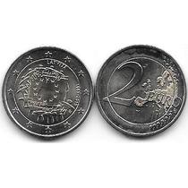 Moneda Letonia Bimetalica 2 Euro Año 2015 Bandera Europa