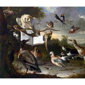 Lienzo Tela Los Pájaros De La Mañana Naturaleza Música 50x60