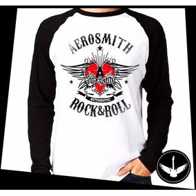 Manga Longa Aerosmith Banda Rock Camisa Comprida Blusa 01