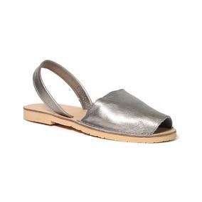 Trender Sandalia Flat Color Plata Piel