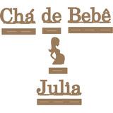Kit De Mesa Na Base Para Chá De Bebê Com Nome Mdf Cru Festas