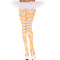 Meia-calça Listrada Branca E Laranja Music Legs