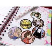 Set De 6 Stickers Circulares De Anime El Viaje De Chihiro