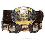 Kit Cinto E Fivela P/ Peao De Rodeio Country Cowboy