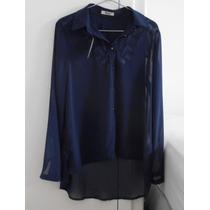 Camisa Azul Con Transparencias Manga Larga O Manga 3/4 T.u