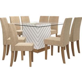 Conjunto De Mesa Vince Tampo De Vidro 1,40m Com 08 Cadeiras
