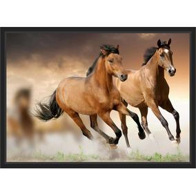 Quadro Decorativo Animais Para Decoração Dois Cavalos