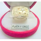 Importante Anillo Plata Y Oro Con Cubic Flor/ Petalos En Oro