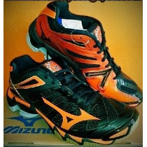 Tenis Mizuno Rx3 Negro-naranja Para Voleibol, Handball, Gym.