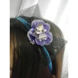 Tiara Infantil Azul Com Laço Flor E Boneca