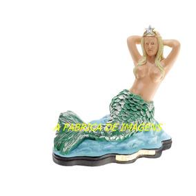 Escultura Linda Sereia Mar Estrela Dalva Imagem Estatua 40cm
