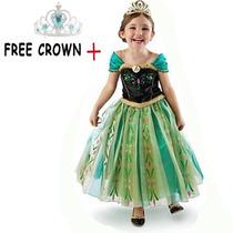 Vestido Anna Corona Frozen Niña Princesa Disney Envio Gratis