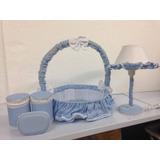 Kit Acessórios Abajur Cesta Potes Para Quarto Do Bebê Azul