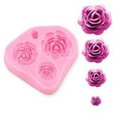 4 Tamaño Rosas Flor Silicona Torta Molde Chocolate