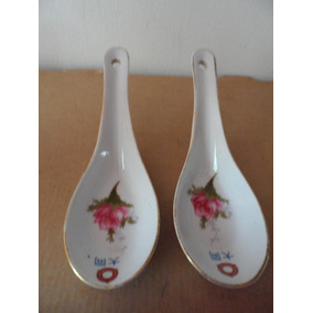 Set 2 Cucharas Florales Oriental Porcelana Tradicional China