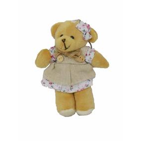Chaveiro Mini Ursinho Pelucia 12cm Com Vestido E Laço Rosa