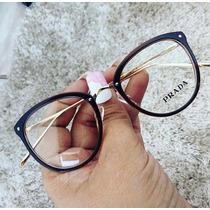 Óculos Armação De Grau Feminino Redondo Geek Frete + Brinde