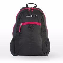 Mochila Escolar Negro Con Rosa Swiss Gear