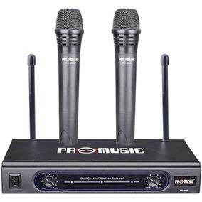 Microfone Sem Fio De Mão Duplo Vhf Par Promusic Profissional