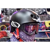 Casco Para Snowboard Y Ski Byloop Black Con Cuello Térmico