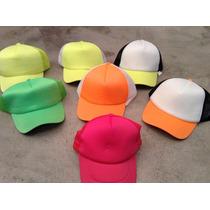 Pack X 10 Sombrero Cap Fluo Red Surtidos Cotillon Luz Negr
