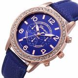 Reloj Dama Geneva Serie Platinum - Caja Con Strass Circonias
