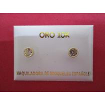 Broqueles Oro Solido 10 Kilates Con Zirconias Y Vicel