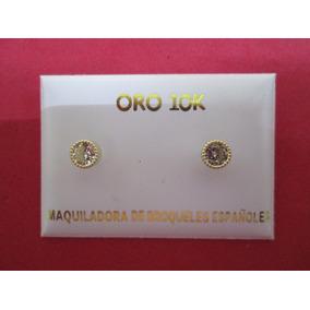 Broqueles Oro Sólido 10 Kilates Con Zirconias Y Vicel