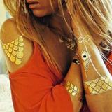 6 Plantillas De Tatuajes Temporales Metálicos Envío Gratis