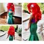 Fantasia Infantil Princesa Ariel Pequena Sereia Com Cauda
