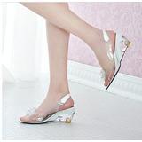 Sandálias De Verão Mulheres Peep Toe Sandálias Transparente