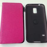 Capa Flip Cover Em Couro Pink Para Samsung Grand Duos