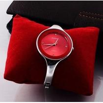 Relógio Bracelete Em Aço Kimio Red