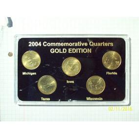Estados Unidos 5 Cuartos Dólar Edicion Oro Encapsulado Certi