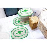 Jogo De Banheiro Crochê Barbante Colorido Com Flor Verde