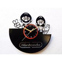 Reloj De Pared Disco Vinilo Acetato Nintendo Mario Bros