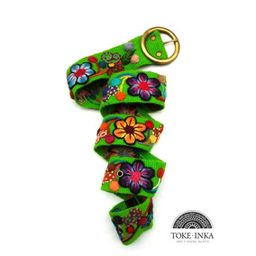 Cinturon Bordado A Mano Floral, Cinto Tejido 100% Artesanal