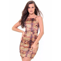 Roupas Femininas/ Vestido Tubinho Animal Print Handara Satin