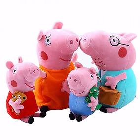 4 Pelucia Familia Pepa Pig E Jorge Pig Musicais + Brinde