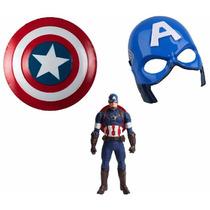 Kit Escudo Do Capitão America + Mascara + Boneco