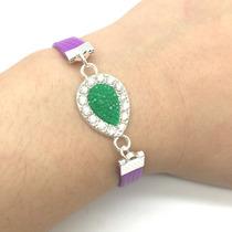 Pulseira Vogue Elegance - Purple Drop Green - Strass